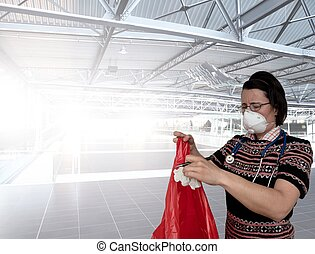 Woman with face breathing protection mask