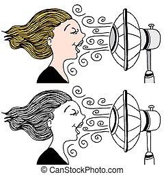 fan blowing clipart. woman with fan blowing - an image of a fan. clipart n