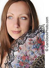 woman with fan portrait