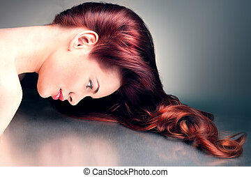 Woman with fancy hairstyle