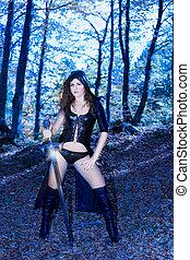 fantasy sexy dress and sword