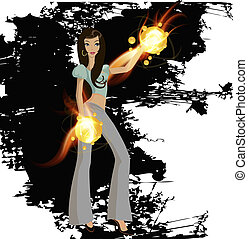 woman with fire