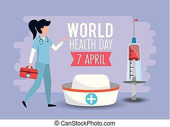 woman with first aid to world health day