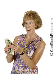 woman with fist full of money