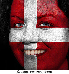 Woman with flag painted on her face to show Austria support