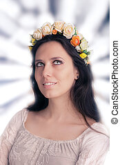 Woman with Floral Wreath