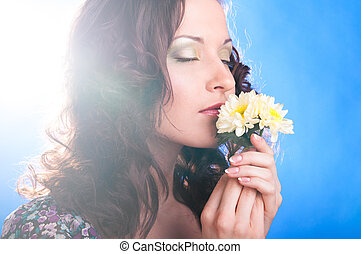 woman with flower