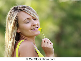 day dreaming - woman with flower day dreaming