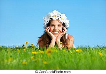 Woman with flower diadem