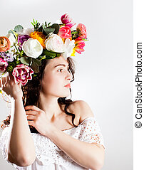 Woman with flower wreath