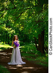 Woman with flowers in the forest (without sunrays ver) -...
