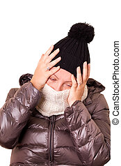 Woman With Flu And Severe Headache