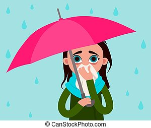 Woman with flu in the rain
