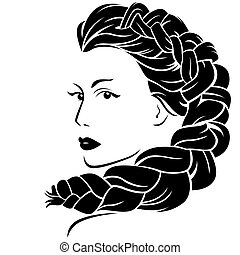 Woman with fluffy braided plait - Beautiful woman with...
