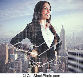 Woman with forex chart