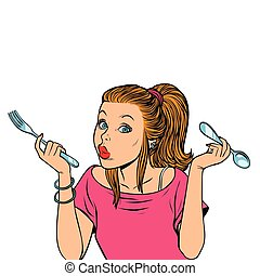 woman with fork and spoon