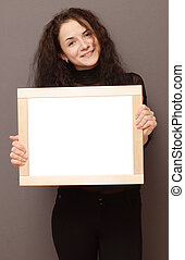 woman with frame