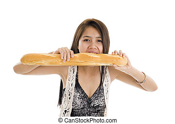 woman with french bread