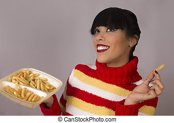 woman with french fries