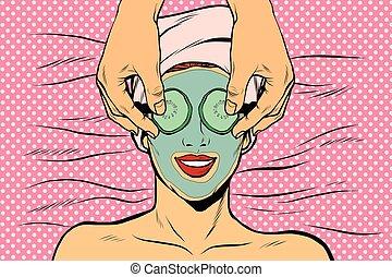 Woman with fruit beauty mask, pop art retro vector...