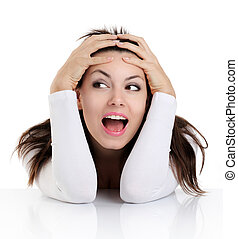 woman with funny face expression