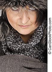 Woman with fur cap