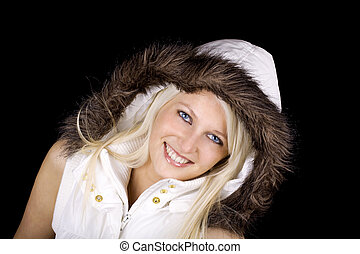 Woman with fur coat