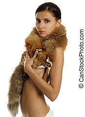Woman with furs - Portrait of the beautiful naked girl with...