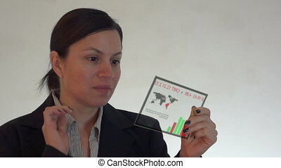 Woman With Futuristic Tablet Comput