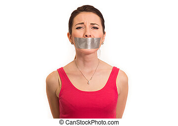 woman with gaffer tape on mouth
