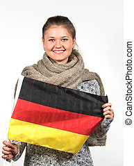 woman with german flag