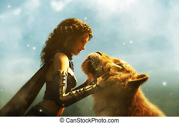 Woman with giant tiger, fantasy conceptual 3d illustration ...
