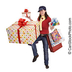 Woman with gift box and group bag.