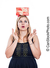 Woman with gift on the head