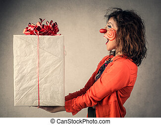 Woman with gift - Clown woman with gift