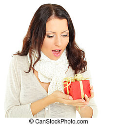 Woman with gift - surprise