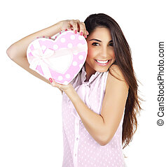 Woman with giftbox