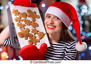 Woman with ginger cookies