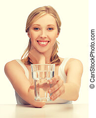 woman with glass of water - picture of beautiful woman with...