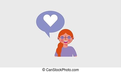 woman with glasses and speech bubble likes love social media