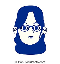 woman with glasses icon, flat design