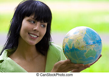 woman with global - brunet bisnesswoman with global