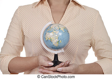 Woman with globe.