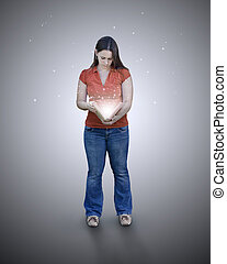 Woman with glowing book.