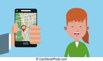 Woman with gps HD animation - Woman using smartphone gps app...