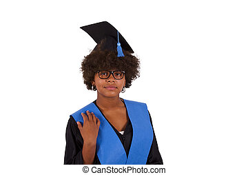 aafaffb95c1 Young woman with graduation cap and gown with arm raised holding ...