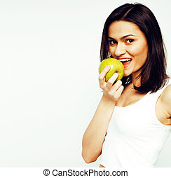 woman with green apple smiling isolated on white background, lif