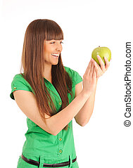woman with green apple.