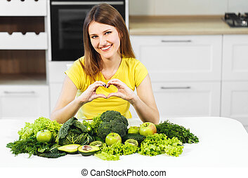 Woman with Green Food