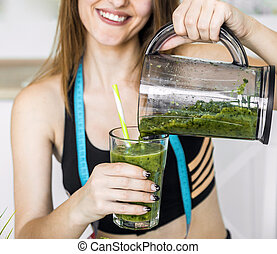 Woman with Green Smoothie